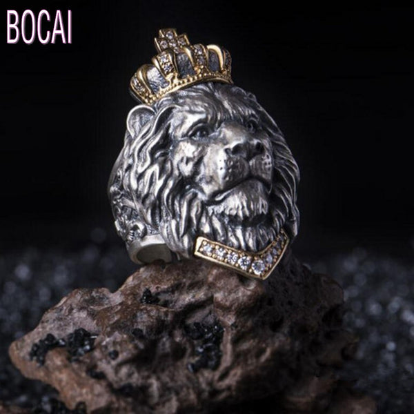 2019 fashion new vintage crown lion ring men cross male lion head ring domineering man's ring