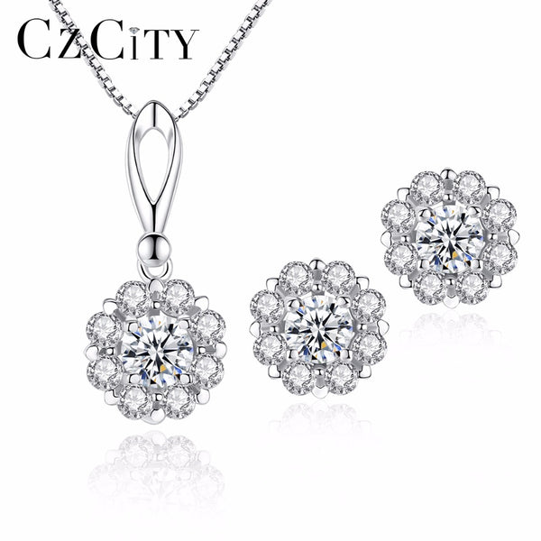 CZCITY Genuine 925 Sterling Silver Petal Earrings Necklace  for Women Engagement Wedding Jewelry Sets 925 Silver Jewellry Gift