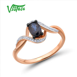 VISTOSO Gold Rings For Women Genuine 14K 585 Rose Gold Ring Sparkling Diamond Oval Blue Sapphire Luxury Trendy Chic Fine Jewelry