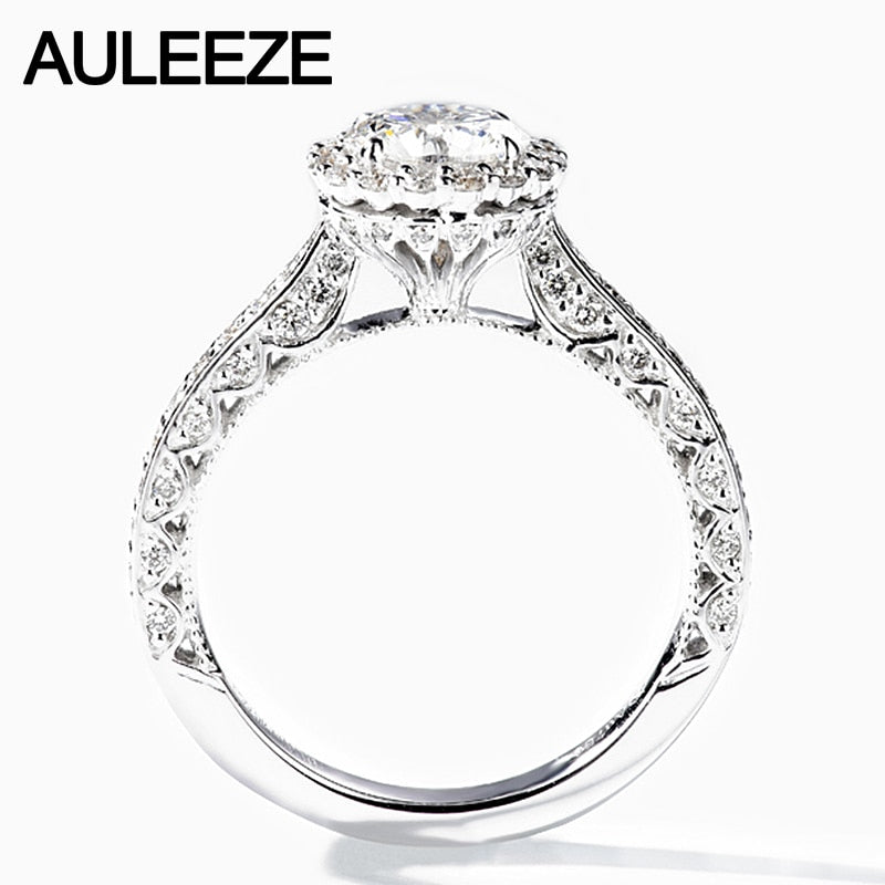 AULEEZE Unique Design Luxury Halo 1.0CT Moissanite Diamond 14k 585 White Gold Wedding Engagement Rings For Female Custom Jewelry