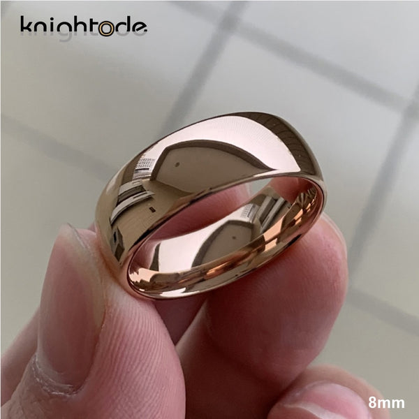 Classic Rose Gold Tungsten Wedding Ring For Women Men Tungsten Carbide Engagement Band Dome Polished Finish 8mm 6mm Ring