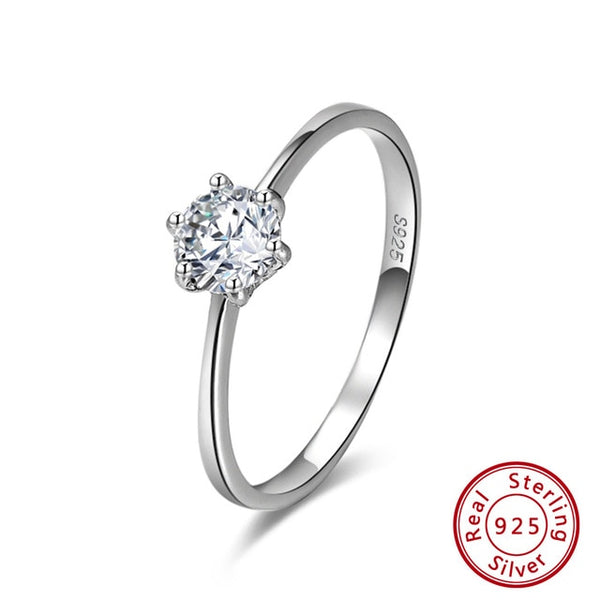 925 Sterling Silver Women Solitaire Rings Cubic Zircon Female Wedding Ring Fashion Jewelry For Any Party SR116