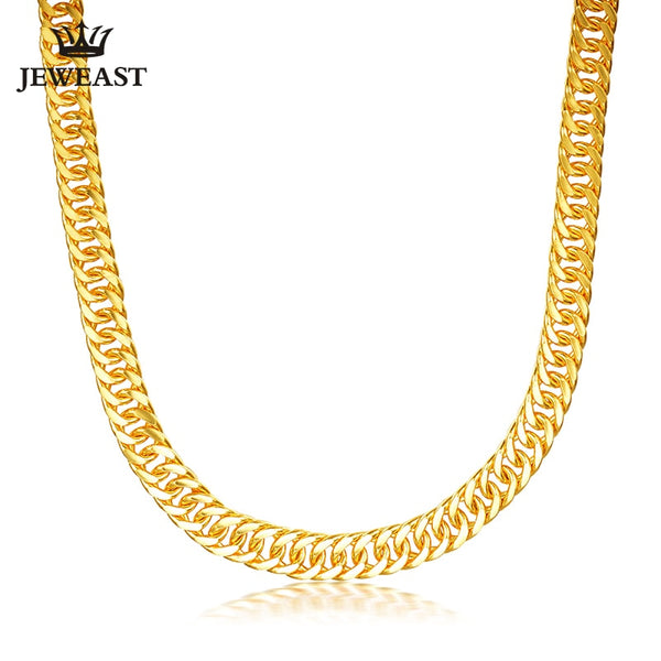 JJF 24K Pure Gold Necklace Real AU 999 Solid Gold Chain Good Gifts Man's Upscale Trendy Classic Fine Jewelry Hot Sell New 2019