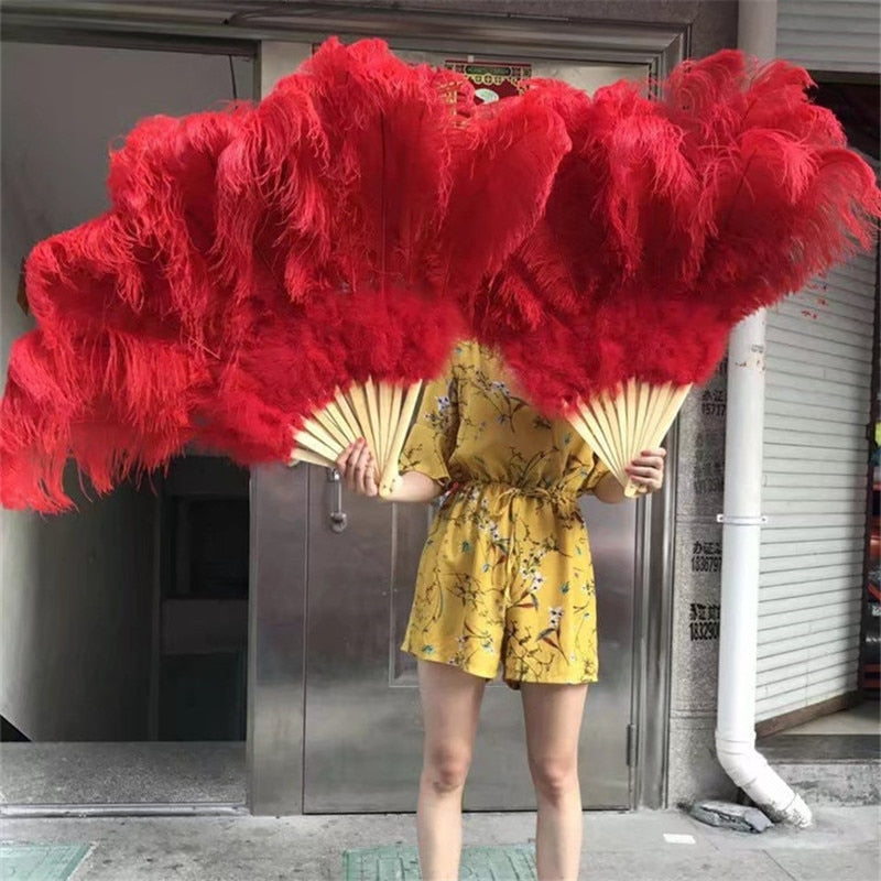 New listing! high quality Red Big ostrich feather fan decorates Halloween party for belly dancers DIY 12 feather fan bars