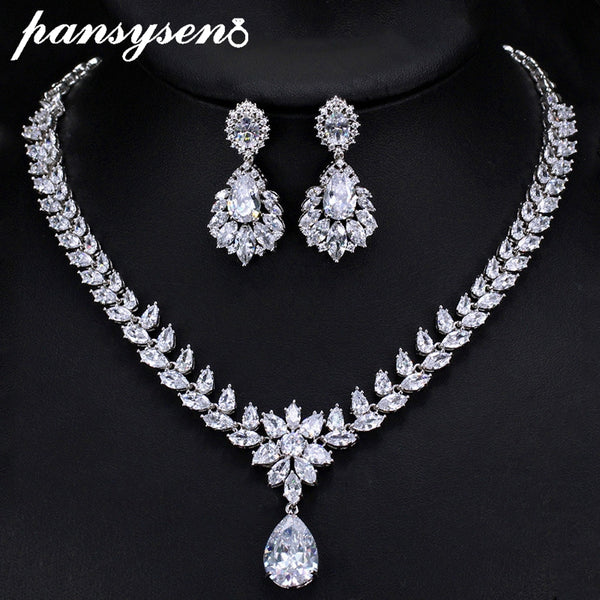 PANSYSEN 925 Sterling Silver Women Jewerly Sets with AAA Cubic Zirconia Big CZ Necklace/Earring Fashion Cocktail Party Gift Set