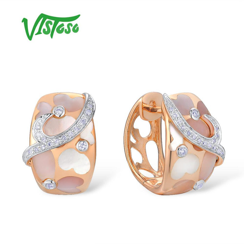 VISTOSO Gold Earrings For Women Pure 14K 585 Rose Gold Pink Mother of Pearl Sparkling Diamond Wedding Engagement Fine Jewelry