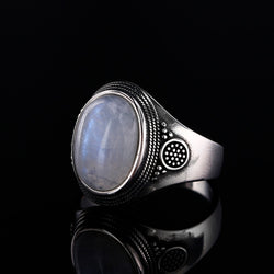 Natural Moonstone Ring Lady 925 Silver Jewelry Retro Party Ring 10x14MM Large Ellipse Gem Gift Wholesale