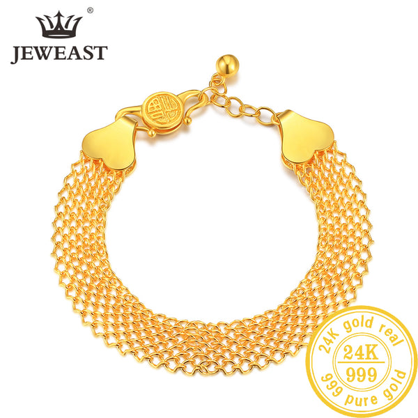 JLZB 24K Pure Gold Bracelet Real 999 Solid Gold Bangle Upscale Beautiful  Romantic Trendy Classic Jewelry Hot Sell New 2019