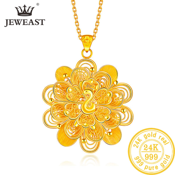BTSS 24K Pure Gold Pendant Real AU 999 Solid Gold Charm  Beautiful  Trendy Classic Party Fine Jewelry Hot Sell New 2019