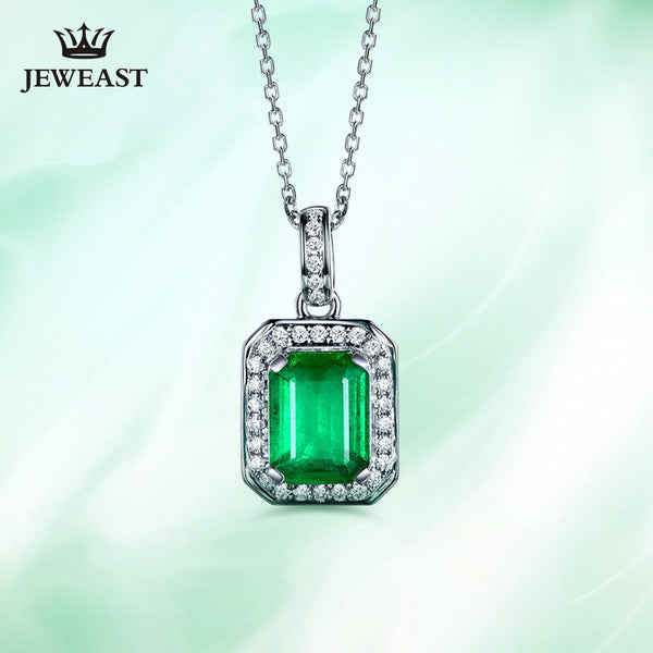 Natural emerald 18K Pure Gold Pendant Real AU 750 Solid Gold  Upscale Trendy Classic Party Fine Jewelry Hot Sell New 2019