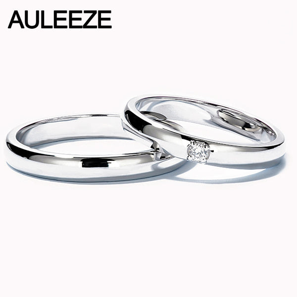 AULEEZE Classic Real Natural Diamond Couple Rings Solid 18K White Gold Men and Women Wedding Band Lovers Commitment Ring
