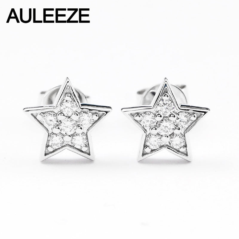 AULEEZE Star Design 0.2cttw Real Natural Diamond Earrings Solid 18K White Gold Diamond Stud Earrings Fine Jewelry Earring Studs