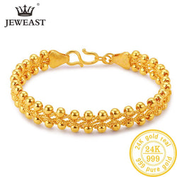 JLZB 24K Pure Gold Bracelet Real 999 Solid Gold Bangle Simple Fashion  Upscale Beautiful Glossy Fine Jewelry Hot Sell New 2019