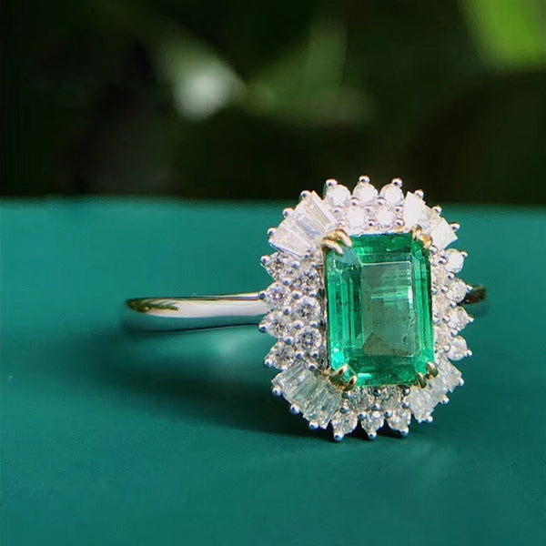 AEAW Jewelry 18K White Gold 1.0ct Natural Emerald ring Emerald Cut Green Gemstone Diamond Ring Women Jewelry