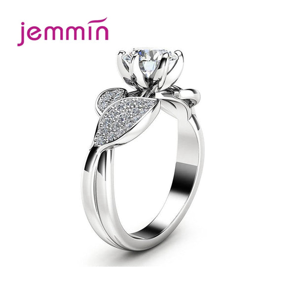 Hot Sale Sparkling Flower Leaves 925 Sterling Silver Rings For Women AAA Cubic Zircon Wedding Ring Boutique Jewelry Gift