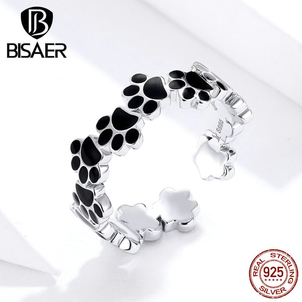 Footprints Rings BISAER 925 Sterling Silver Black Enamel Dog Doggy Cat Footprints Finger Rings for Women Jewelry ECR603