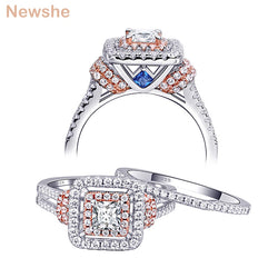 Newshe 2 Pcs Solid 925 Sterling Silver Women's Wedding Ring Sets Halo Rose Gold Color Blue Side Stones Upmarket Jewelry