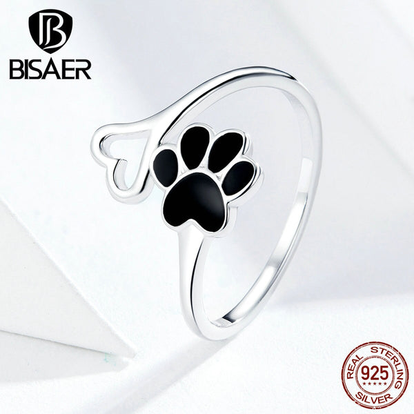 Dog Footprints BISAER Hot Sale 925 Sterling Silver Dog Doggy Pets' Footprint Finger Rings for Women Love Animal Jewelry ECR584
