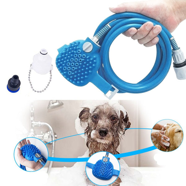 Dog Bath Tool Pet Shower Sprayer & Cleaning Brush Comfortable Massager Shower Tube Gadget Cleaning Washing Bath Sprayer For Cat