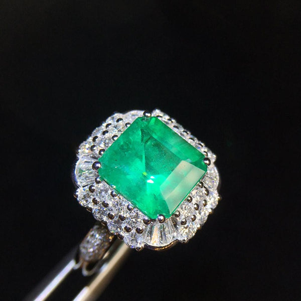 Fine Jewelry Pure 18 K Gold Real Diamonds 18K Gold Jewelry Natural Emerald Gemstones 2.8ct Female Rings for women Fine Ring