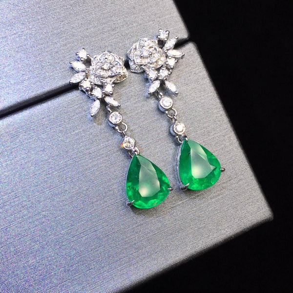 Fine Jewelry AGL Real 18K Gold AU750 Green Emerald Gemstones 1.2ct and 1.28ct Diamonds Water Drop Earrings for Women earrings