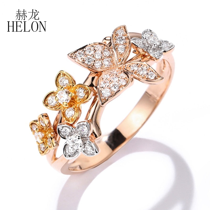 HELON Solid 14k Gold Certified Round SI/H Natural Diamonds Ring for Women Three Color Gold Engagement Trendy Unique Jewelry Ring