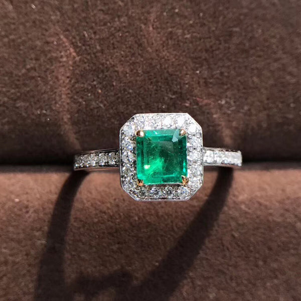 AEAW 18K White Gold AAA 0.81ct Emerald 0.24 ctw Diamond Ring Engagement Ring For Girl For Women