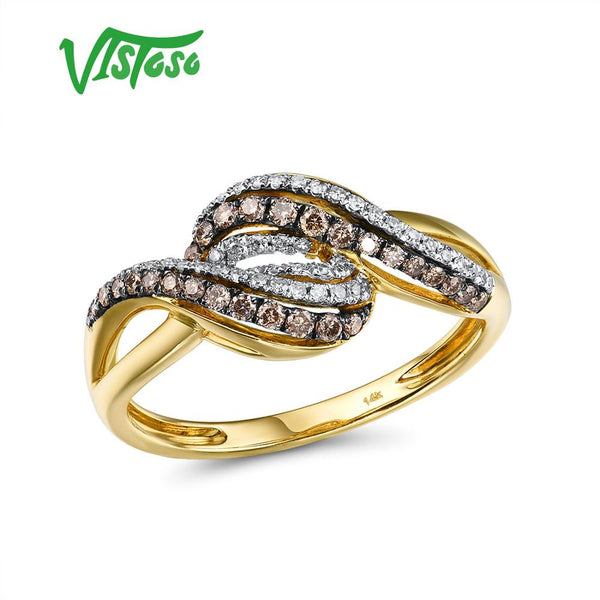 VISTOSO Gold Rings For Lady Genuine 14K 585 Yellow Gold Ring Sparkling White & Brown Diamond Engagement Anniversary Fine Jewelry
