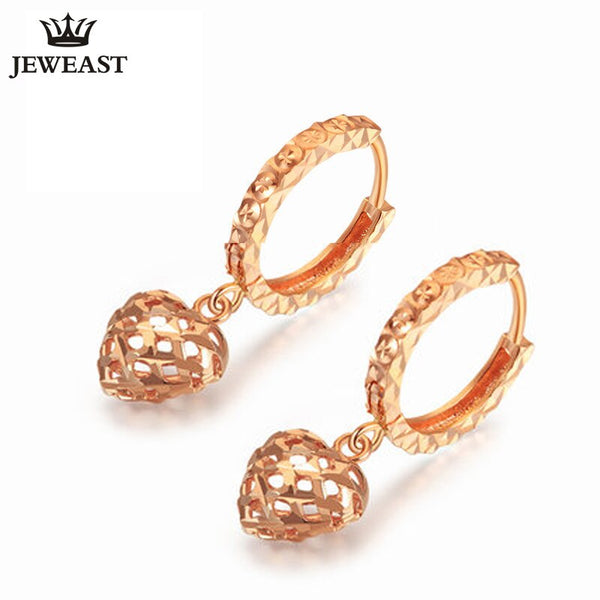 18K Pure Gold Earring Real AU 750 Solid Gold Earrings Good Beautiful Heart Upscale Trendy Classic Fine Jewelry Hot Sell New 2020