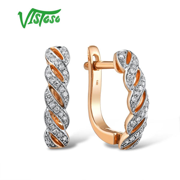 VISTOSO Gold Earrings For Lady 14K 585 Rose Gold Sparkling Luxury Eternal Diamond Earrings Wedding Band Anniversary Fine Jewelry