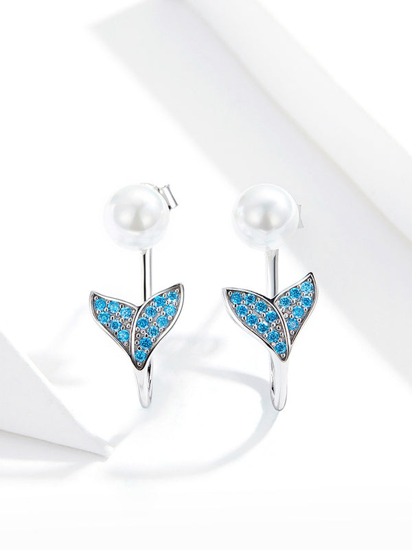 Pearl Earrings for Women Sterling Silver 925 Blue CZ Mermaid Fish Tail Earrings Bijoux Pendientes 2020 New SCE761