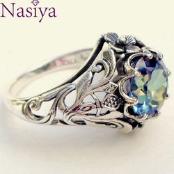 Colorful Hollow-out Ring Vintage 925 Silver Fine Jewelry Creative Gemstone Ring For Women