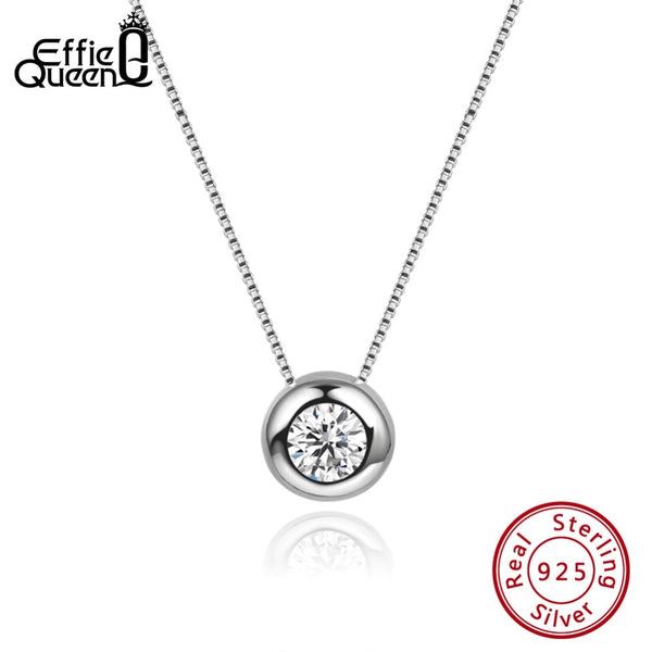 Effie Queen Real Silver Pendant Necklaces With AAA CZ Round Shape 9mm Pendants Box Chain Wedding Necklaces Female Jewelry BN136