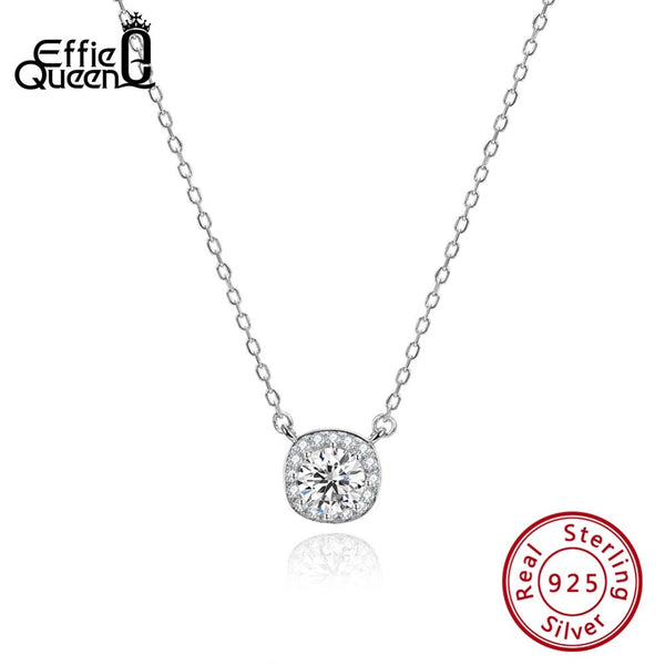 Effie Queen 925 Sterling Silver Necklaces With AAA Zircon Square Pendants Romantic Wedding Necklace 925 Silver Jewelry BN135