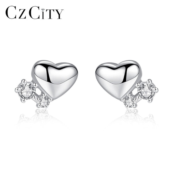 CZCITY Genuine 925 Sterling Silver Cute Heart Small Stud Earrings for Women 2 Colors Petite CZ Paved Earrings Silver 925 Jewelry