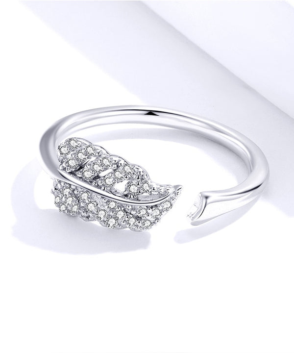 925 Silver Jewelry Clear CZ Leaf Finger Rings for Women Open Adjustable Wedding Statement Jewelry Free Size Gifts SCR614