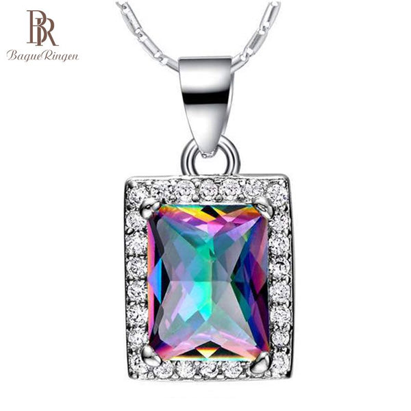Bague Ringen Square Colorful Topaz Silver 925 Jewelry for Women Geometry Gemstones Pendant Luxury Design Neck Ornament Wholesale