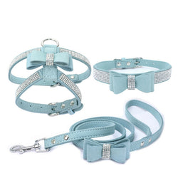 Adjustable Chest Strap With Buckle Rhinestone Soft Suede Bow Pet Dog Cat Harness Leather High Quality Pet Collar 3-Piece Set