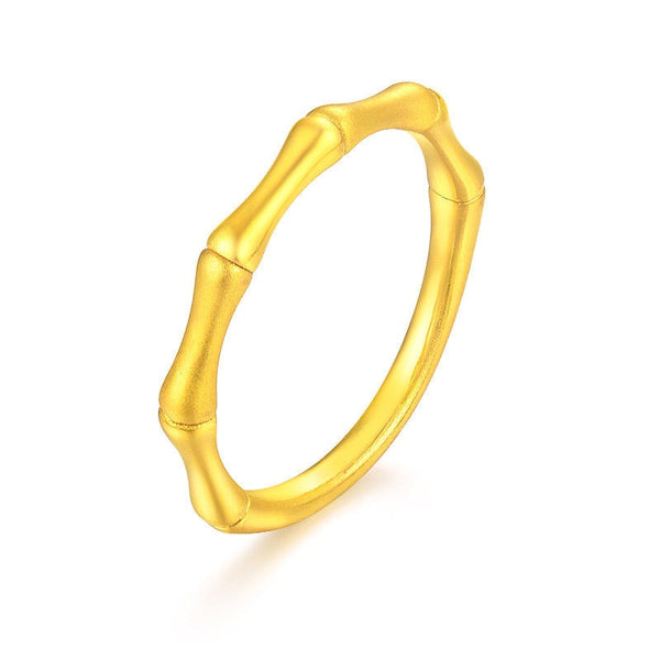 Solid 24K Yellow Gold Ring Bamboo Shape Woman's Ring Size 5-9 Best Gift Safety