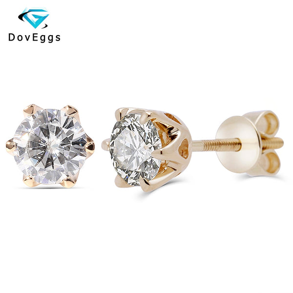 DovEggs 14K Yellow Gold 1.0CTW 5mm F Colorless Moissanite Diamond Stud Earrings For Women Wedding Classic Earrings Screw Back