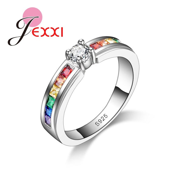 New Arrival Simple Style Colorful Fine Crystal 925 Sterling Silver Ring For Women Female Party Wedding Jewelry