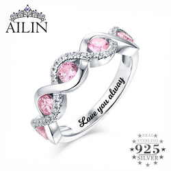 AILIN Personalized Women Twist Band Ring With 5 Birthstone In Sterling Silver For Her Awesome Christmas Gift For Lady