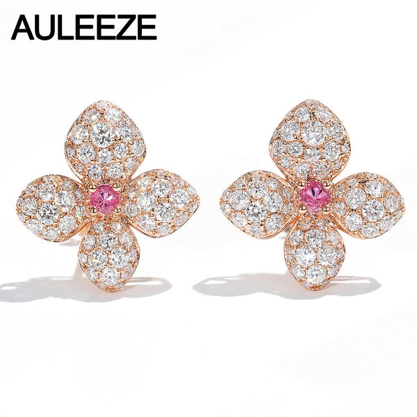 AULEEZE Romantic Flower Shape Natural Pink Sapphire Earrings Real 14K Rose Gold Moissanite Stud Earrings Wedding Jewelry