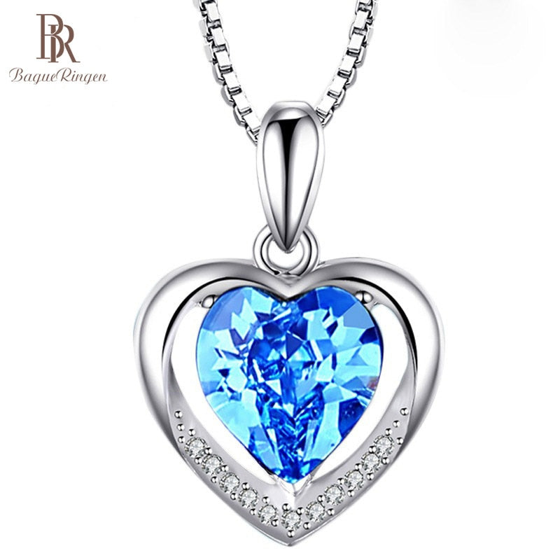 Bague Ringen Temperament 5 colors optional Heart shaped Gemstone Pendant for Women Cordiform Silver 925 Jewelry Engagement GIFT