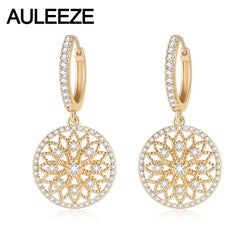 AULEEZE Vintage 0.458cttw Natural Real Diamond Drop Earrings Solid 18K Yellow Gold Earrings For Women Party Fine Jewelry