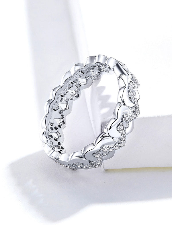 925 Sterling Silver Heart Stackable Finger Rings for Women Jewelry Wide Vintage Clear CZ Wedding Statement Anillos SCR626
