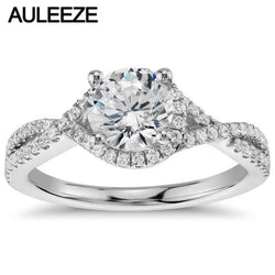 9K White Gold Wedding Ring Romantic Twisted Halo 1 Carat Simulated Diamond Engagement Rings For Women Fine Jewelry