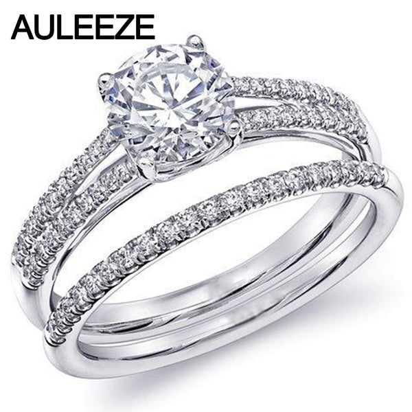 Classic 14K 585 White Gold Ring Diamond Solitaire Bridal Sets Engagement Ring 1CT Moissanites Lab Grown Diamond Wedding Sets