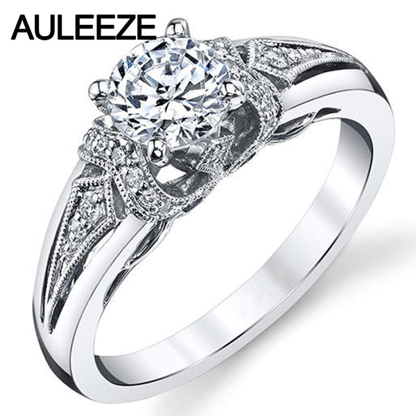 Antique Styled 1CT Lab Grown Moissanites Wedding Rings For Women Diamond Fine Jewelry 14K White Gold Engagement Ring Anniversary
