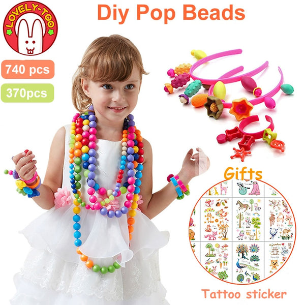 740pcs Pop Beads Diy Set Girl Toys 5 7 Creative Crafts Bracelet Kids Bracelets Bead Jewelry Kit Educational Toys For Children